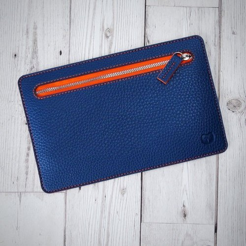 goodeehoo Multi currency vegan navy and orange wallet 007