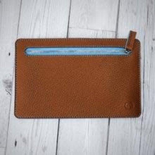 goodeehoo Multi currency vegan tan and blue wallet 008