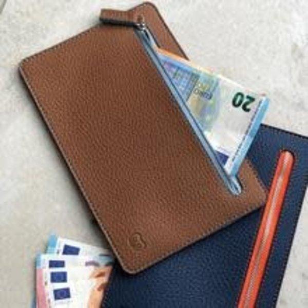 Multi currency vegan tan and blue wallet 008