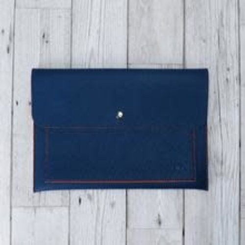goodeehoo Tech vegan navy and orange pouch organiser  005