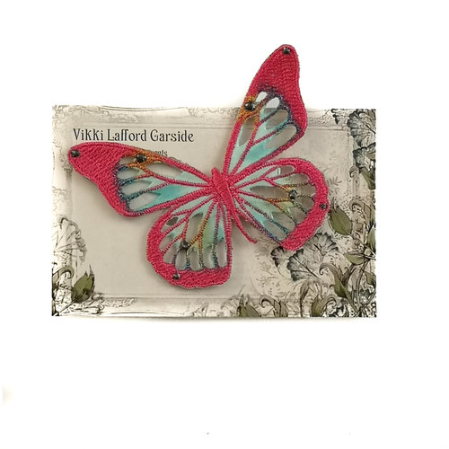 Vikki Lafford Garside Butterfly Embroidered pin Brooch on card 039