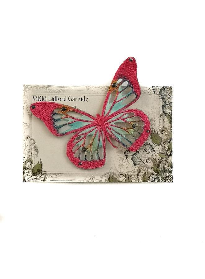 Schmetterling Gestickte Brosche auf Karte 039