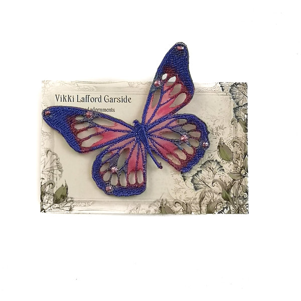 Butterfly Embroidered pin Brooch on card 041