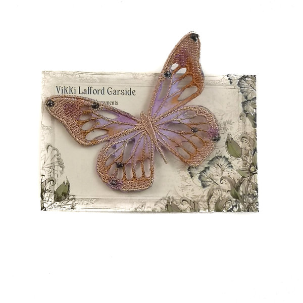 Butterfly Embroidered pin Brooch on card 042