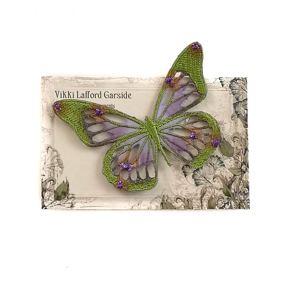 Butterfly Embroidered pin Brooch on card 044