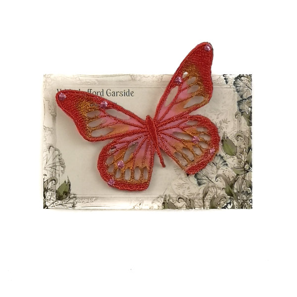 Butterfly Embroidered pin Brooch on card 043