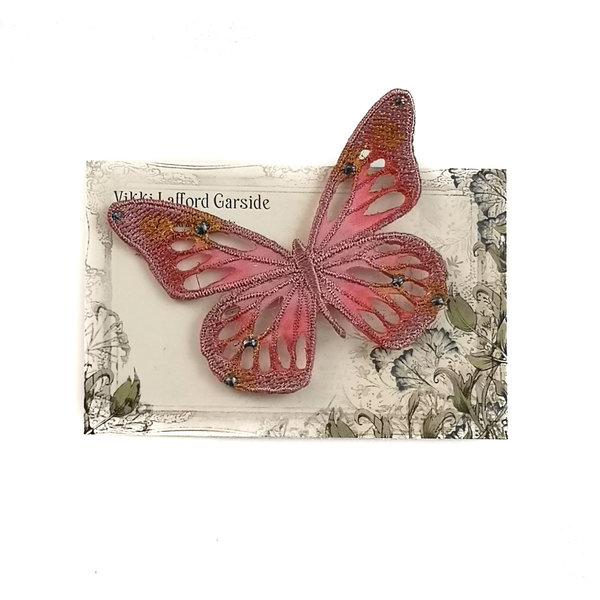 Butterfly Embroidered pin Brooch on card 045
