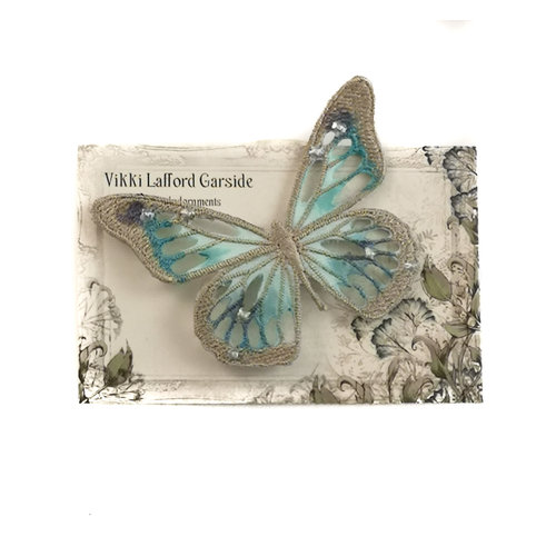 Vikki Lafford Garside Butterfly Embroidered pin Brooch on card 047