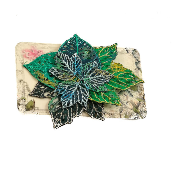 Agrupación de la hoja Pin bordado Broche en tarjeta 028