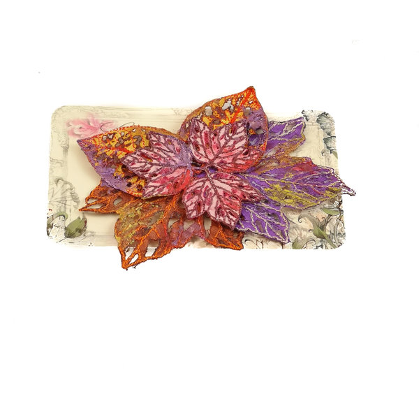 Leaf cluster Embroidered pin Brooch on card 036