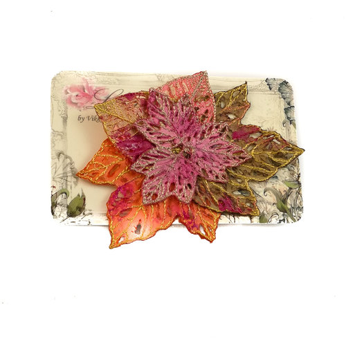Vikki Lafford Garside Leaf cluster Embroidered pin Brooch on card 038