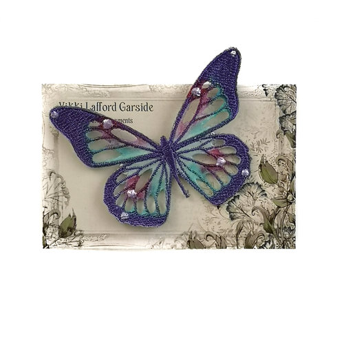 Vikki Lafford Garside Butterfly Embroidered pin Brooch on card 048