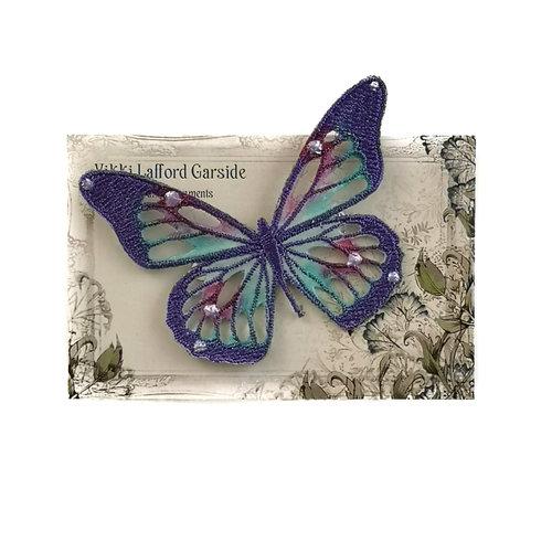 Vikki Lafford Garside Schmetterling Gestickte Brosche auf Karte 048