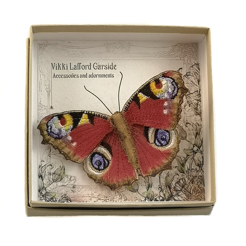 Vikki Lafford Garside Peacock  British Butterfly Embroidered Brooch boxed 001