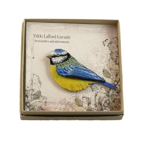 Vikki Lafford Garside Blue Tit  Embroidered boxed Brooch 058