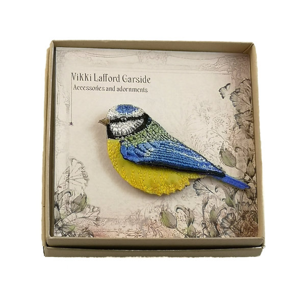 Blue Tit  Embroidered boxed Brooch 058