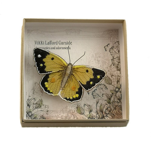 Vikki Lafford Garside Clouded Yellow Butterfly Embroidered boxed Brooch 055