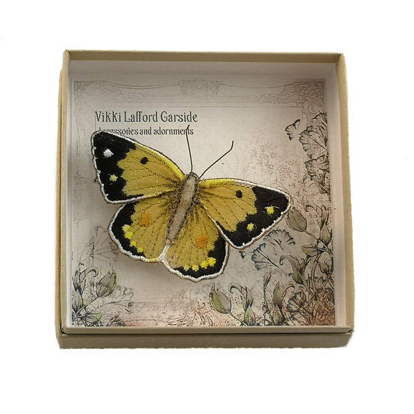 Clouded Yellow Butterfly Embroidered boxed Brooch 055