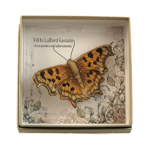 Vikki Lafford Garside Comma Butterfly Embroidered boxed Brooch 054