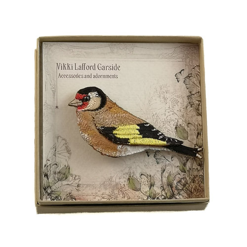 Vikki Lafford Garside Goldfinch Embroidered boxed Brooch 057