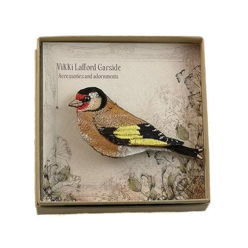 Vikki Lafford Garside Jilguero bordado en caja dorado 057