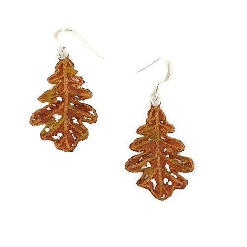 Vikki Lafford Garside Leaf  embroidered earrings orange 064