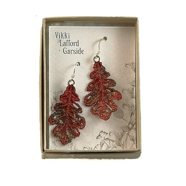 Oak Leaf  embroidered earrings red 062
