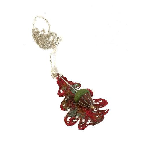 Vikki Lafford Garside Oak Leaf and Acorn pendant red  061