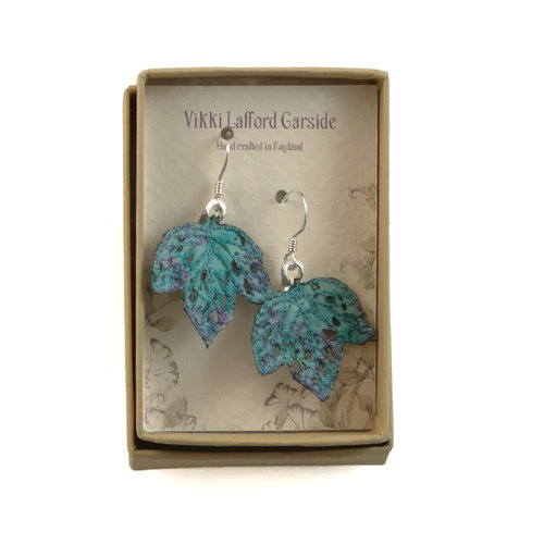 Vikki Lafford Garside Tiny Leaf  embroidered earrings blue 065