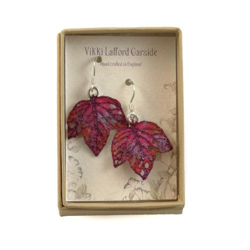 Vikki Lafford Garside Tiny Leaf  embroidered earrings cerise 067