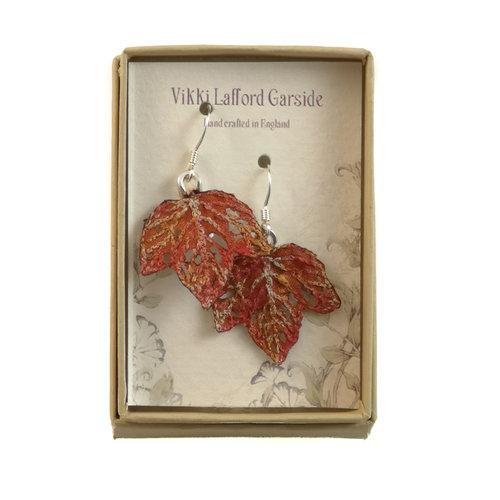 Vikki Lafford Garside Tiny Leaf  embroidered earrings orange 066