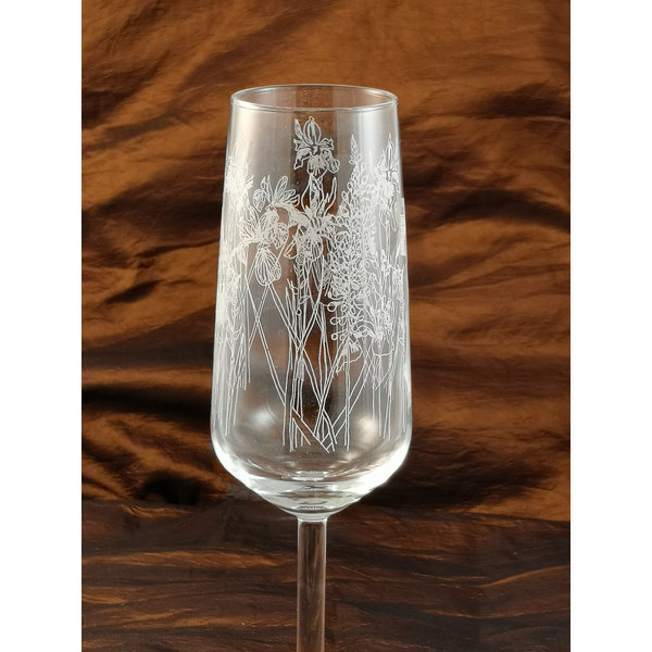 Floral Flute Table  Glass 005