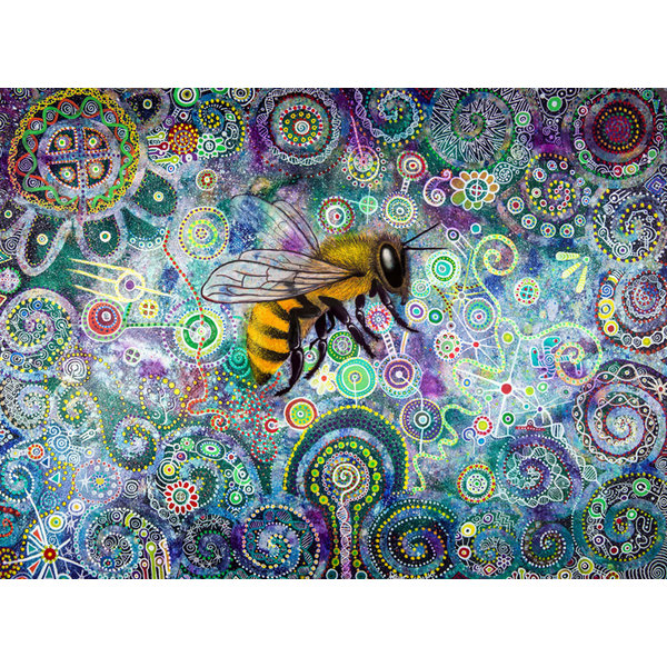 Shamanic Bee printed folded card 043