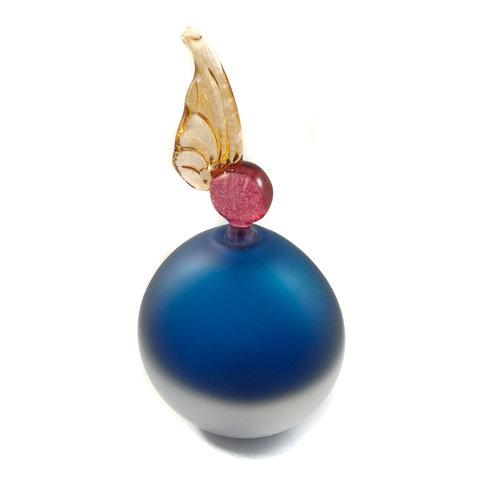Bob Crooks Plana redonda azul con tapón de ala botella de aroma 032