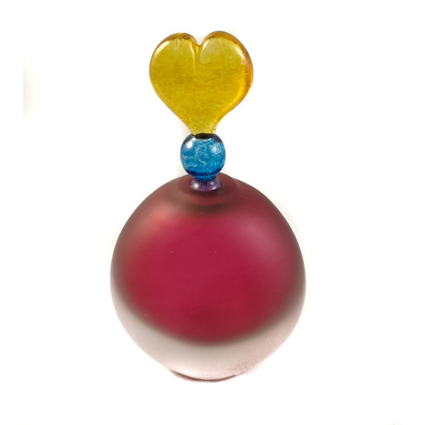 Flat round ruby with heart stopper scent bottle 030