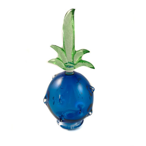Bob Crooks Pineapple  blue with green stopper scent bottle 035
