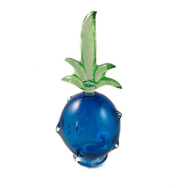 Piña azul con tapón verde aroma botella 035