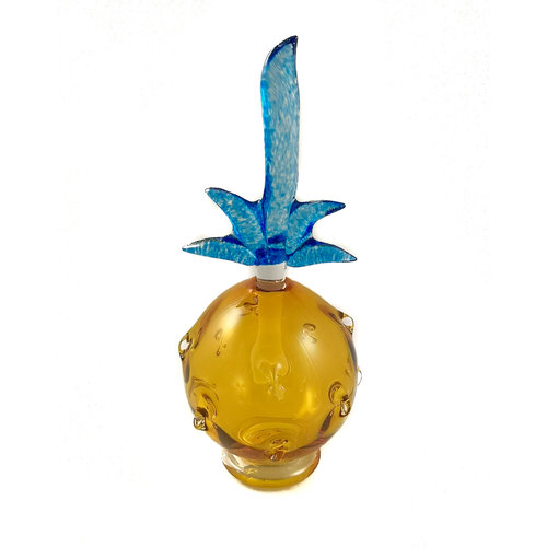 Bob Crooks Pineapple gold with blue stopper scent bottle 036