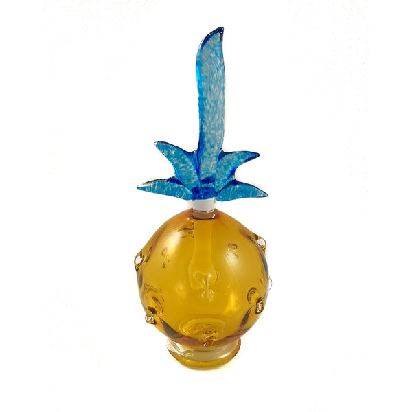 Pineapple gold with blue stopper scent bottle 036