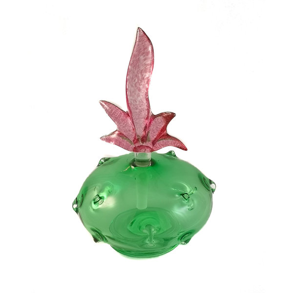 Pineapple green with pink stopper scent bottle 038