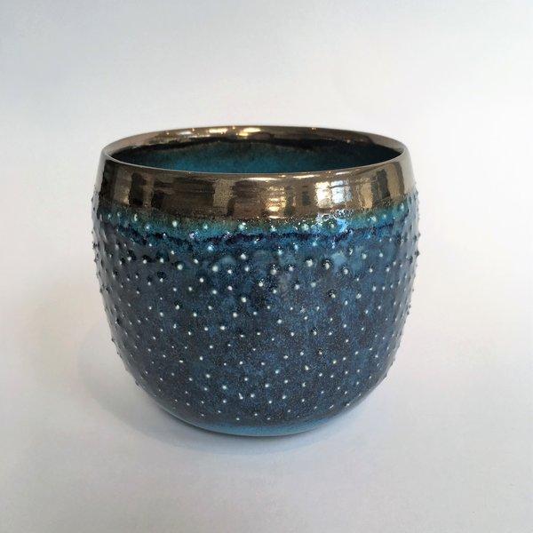 Blue Yonder  wheel thrown  large earthenware bowl 04