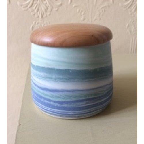 Gary Thomas Lidded Jar porcelain and Ash wood 05