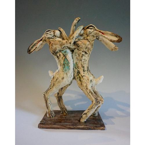 Vicky Yates Boxing Hares stoneware 02