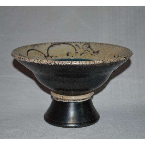 Dick Graves Raku Bowl on pedestal 02