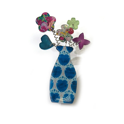 One Button Flowers in a vase brooch