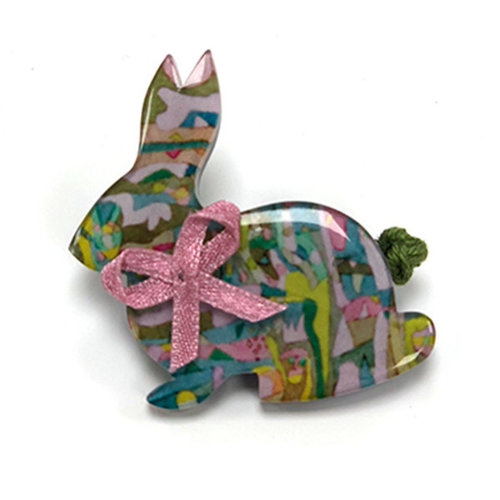 One Button Bunny brooch 028