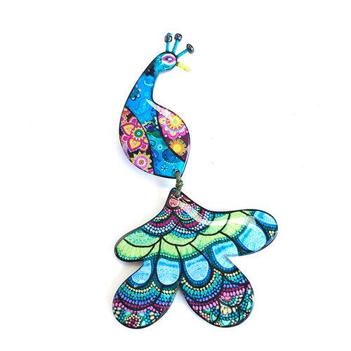 One Button Peacock Fun Acrylic brooch 039