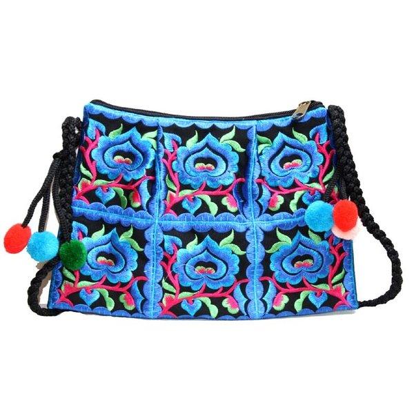 Bolso bordado floral con cremallera y correa azul 133