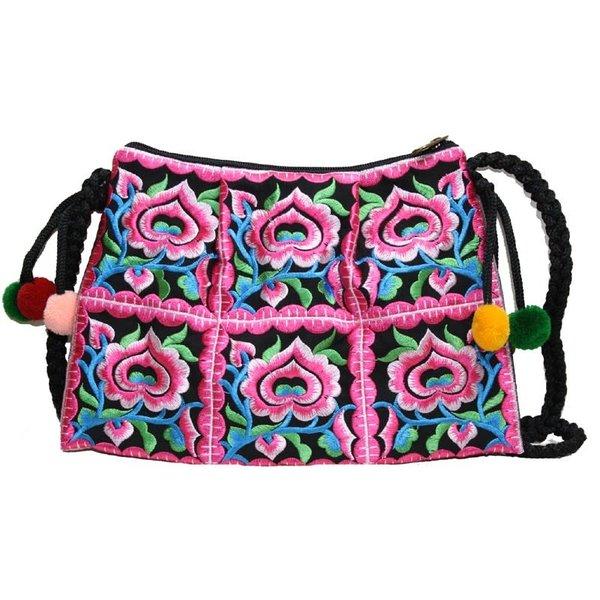 Bolso bordado floral con cremallera y correa color rosa caliente 131