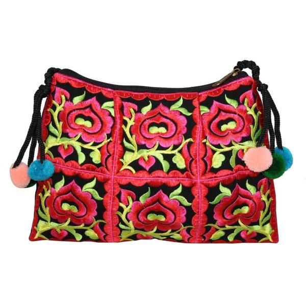 Bolso bordado floral con cremallera y correa rojo 134